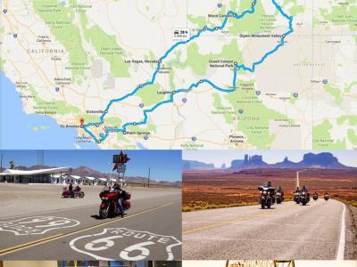 Ruta 66 Sur y Parques Nacionales con Las Vegas en Harley Davidson, CON GUÍA en moto.
